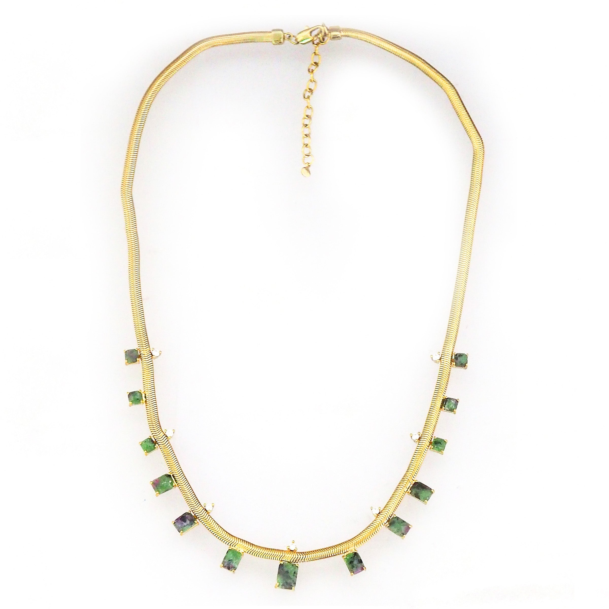 Gold Tone Snake Necklace with Green Glass and Cubic Zirconia