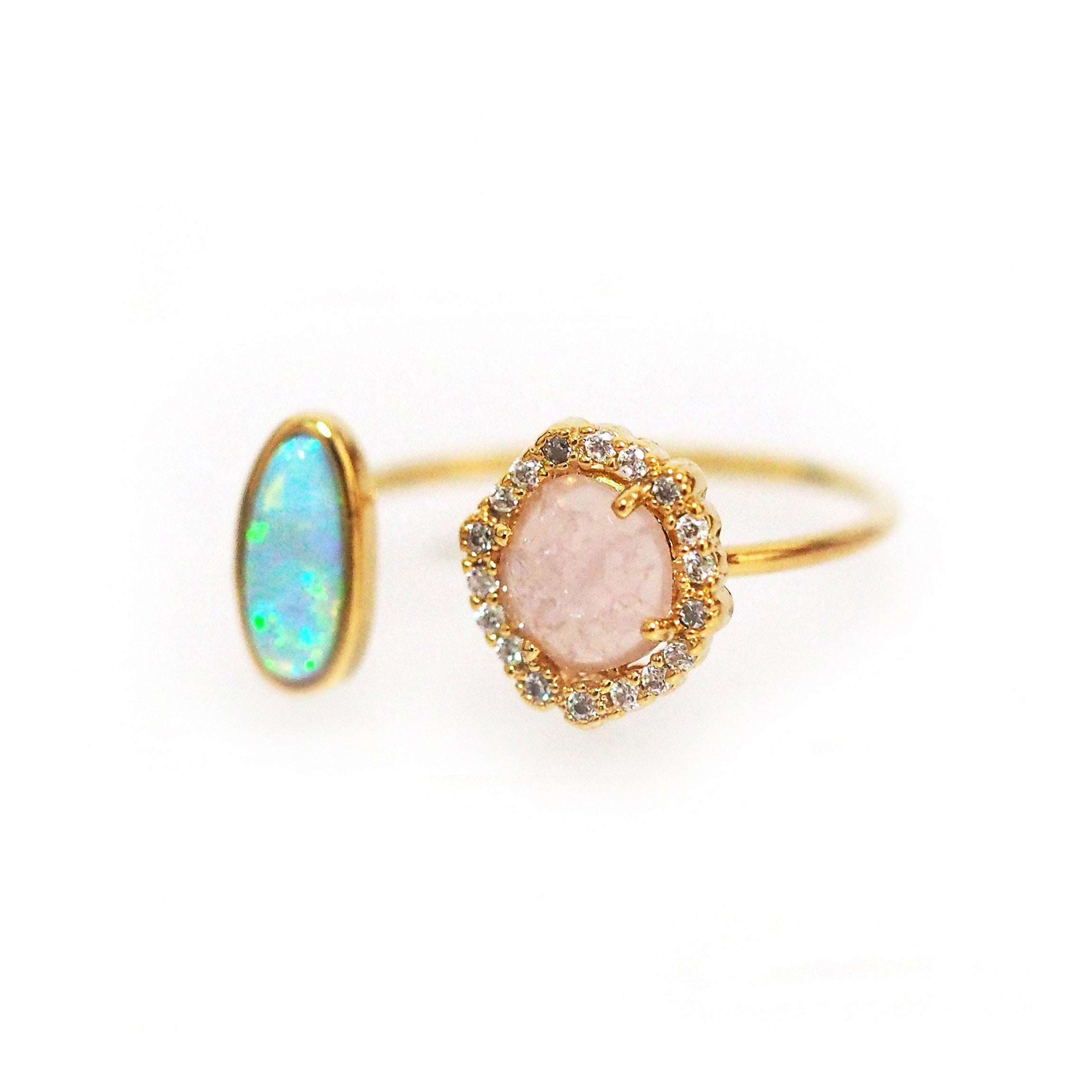 Colored Glass and CZ Ring, Gold Tone, by Tai Design