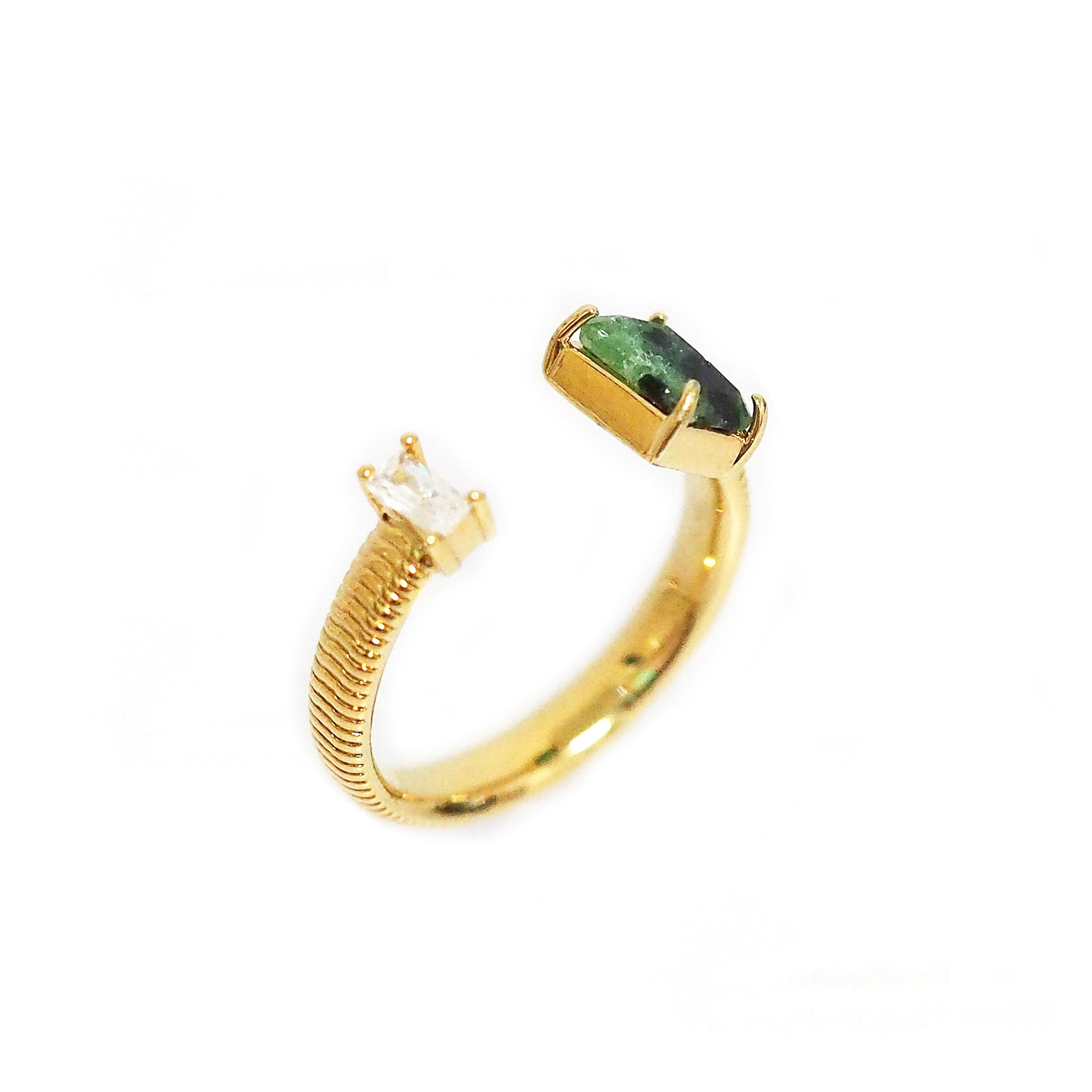 Green Stone and CZ Snake Chain Ring, Gold Tone, by Tai Design