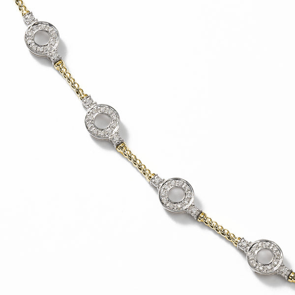 Flexible Diamond Bracelet with Rope Design, 14K Gold
