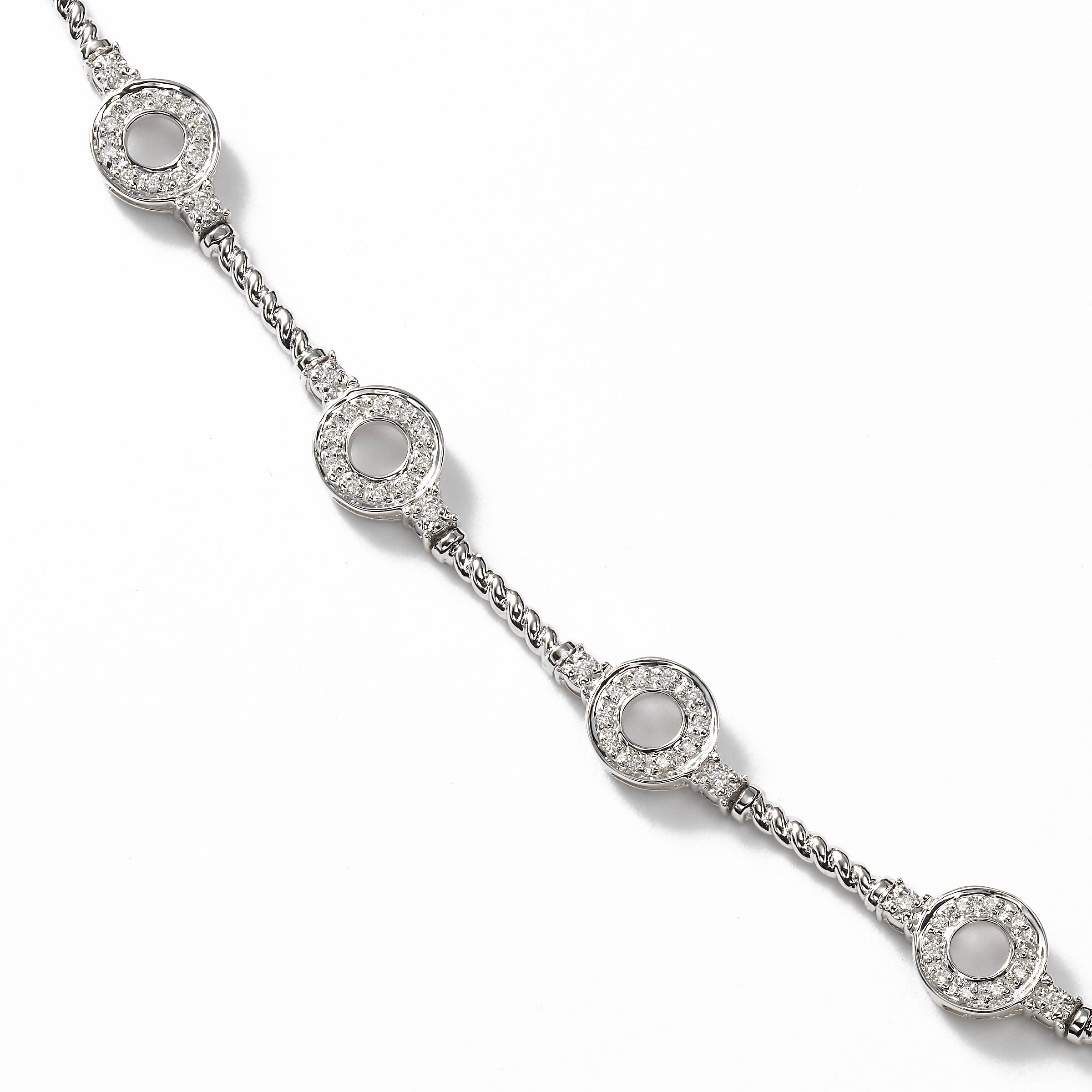 Flexible Diamond Bracelet with Rope Design, 14K White Gold