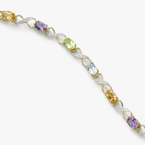 Multi Color Gemstone and Diamond Bracelet, 14K Yellow Gold