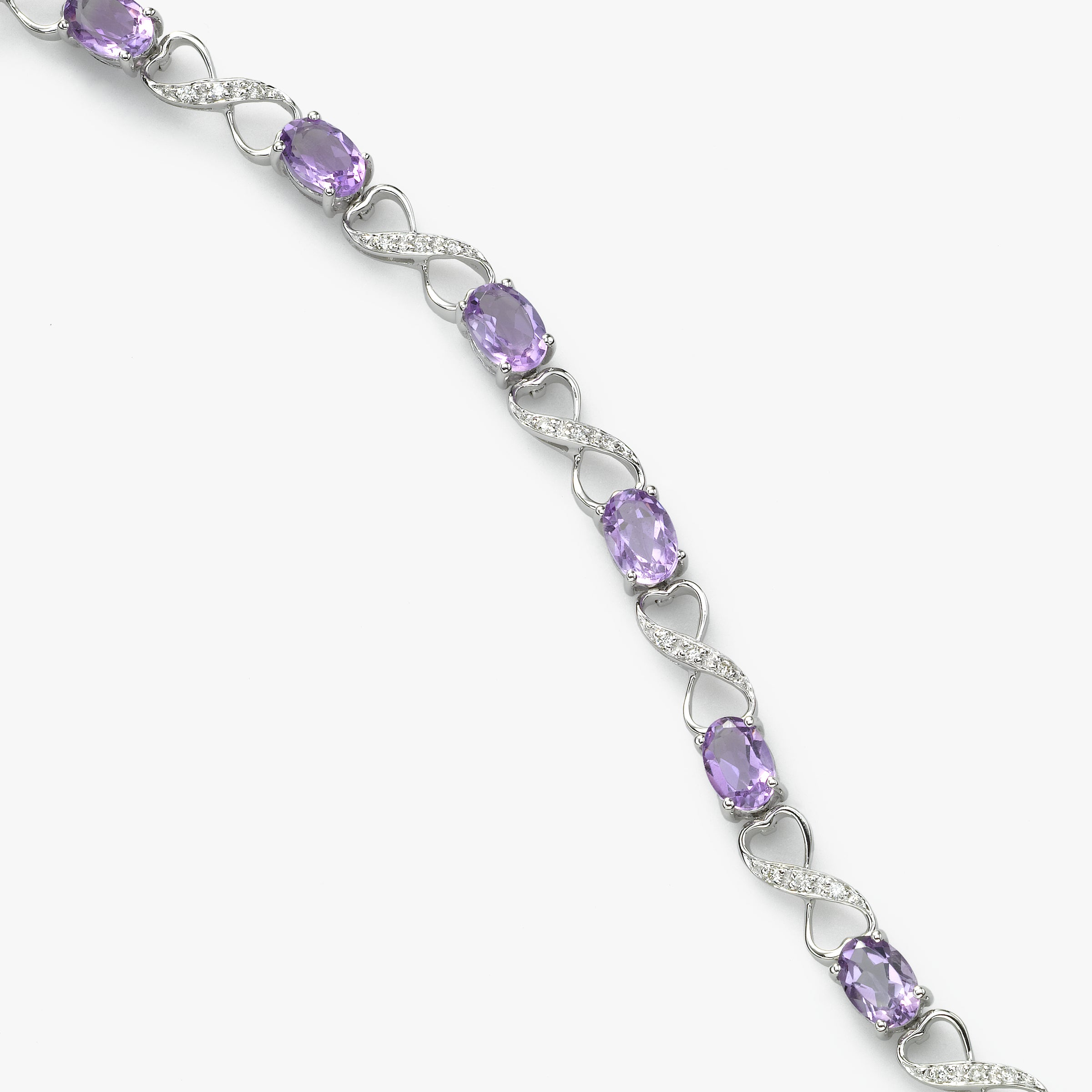 Amethyst and Diamond Bracelet, 14K White Gold