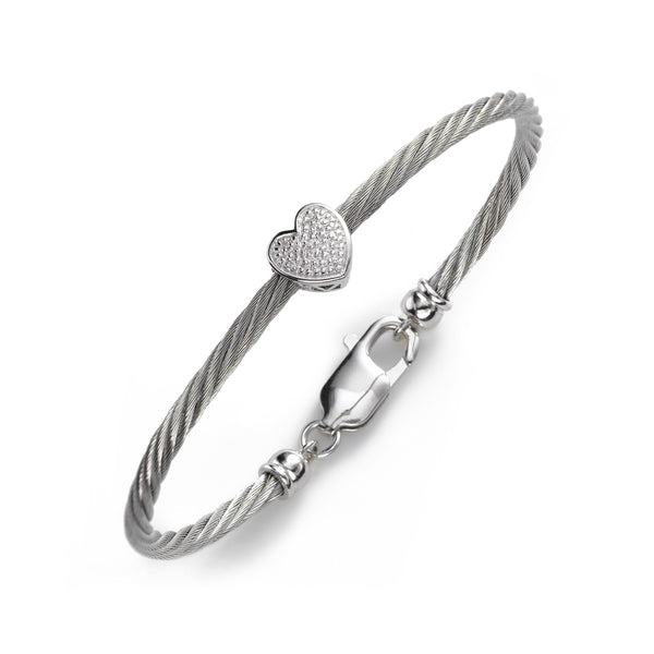 Diamond Heart Bracelet, Sterling and Stainless Steel, Adult Size