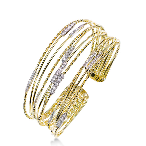 Diamond Cuff Multistrand Bracelet, 14K Gold
