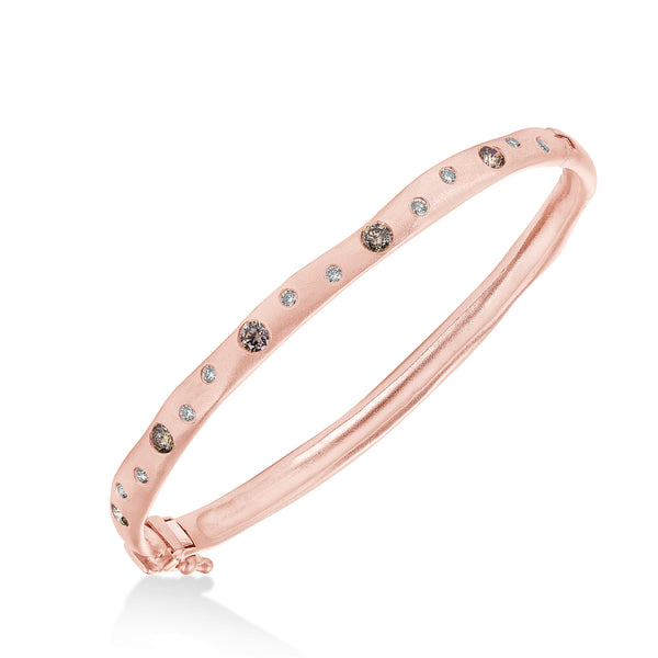 Scattered Diamond Matte Bangle, 14K Rose Gold