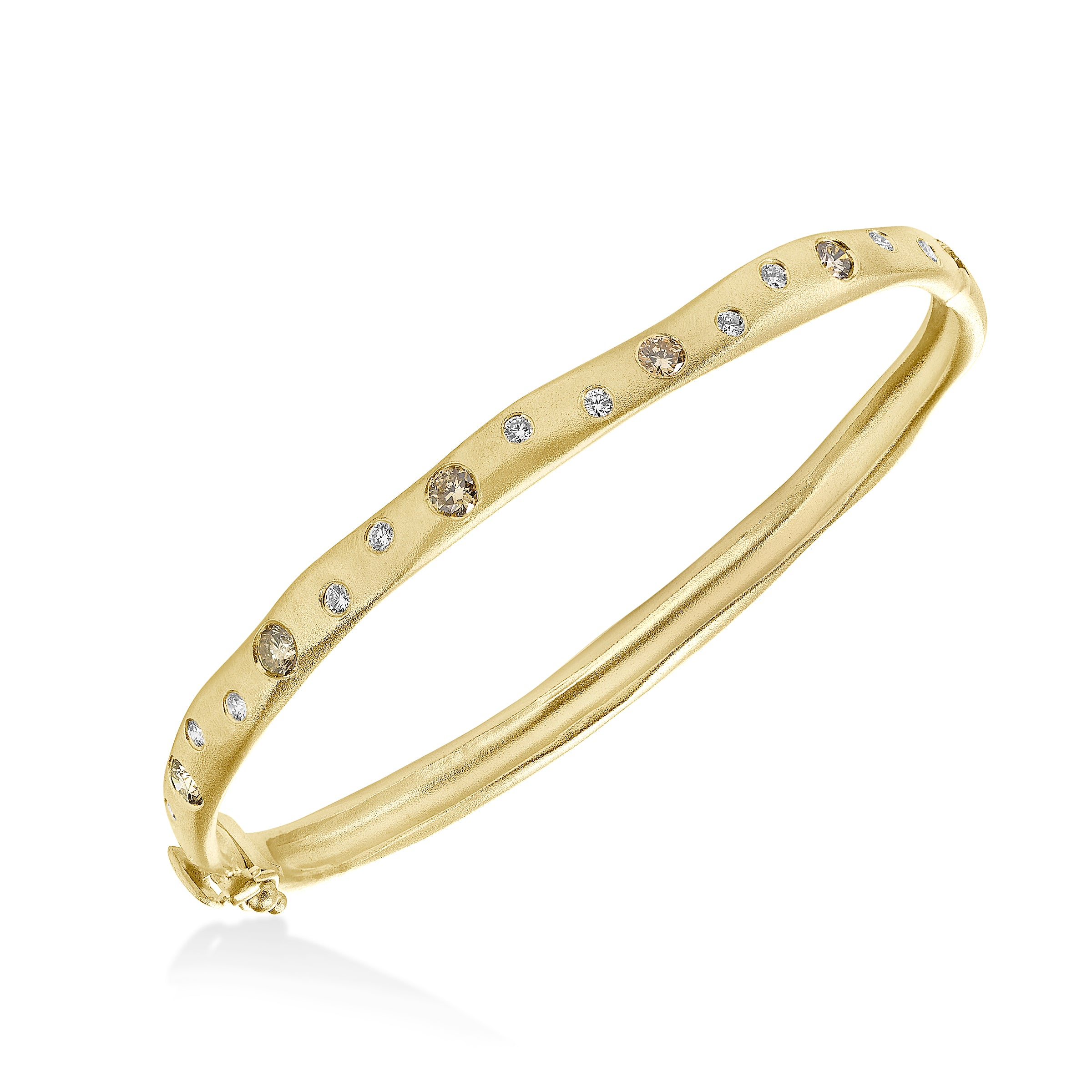 Scattered Diamond Matte Bangle, 14K Yellow Gold