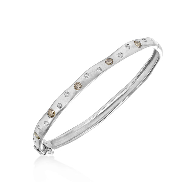 Scattered Diamond Matte Bangle, 14K White Gold