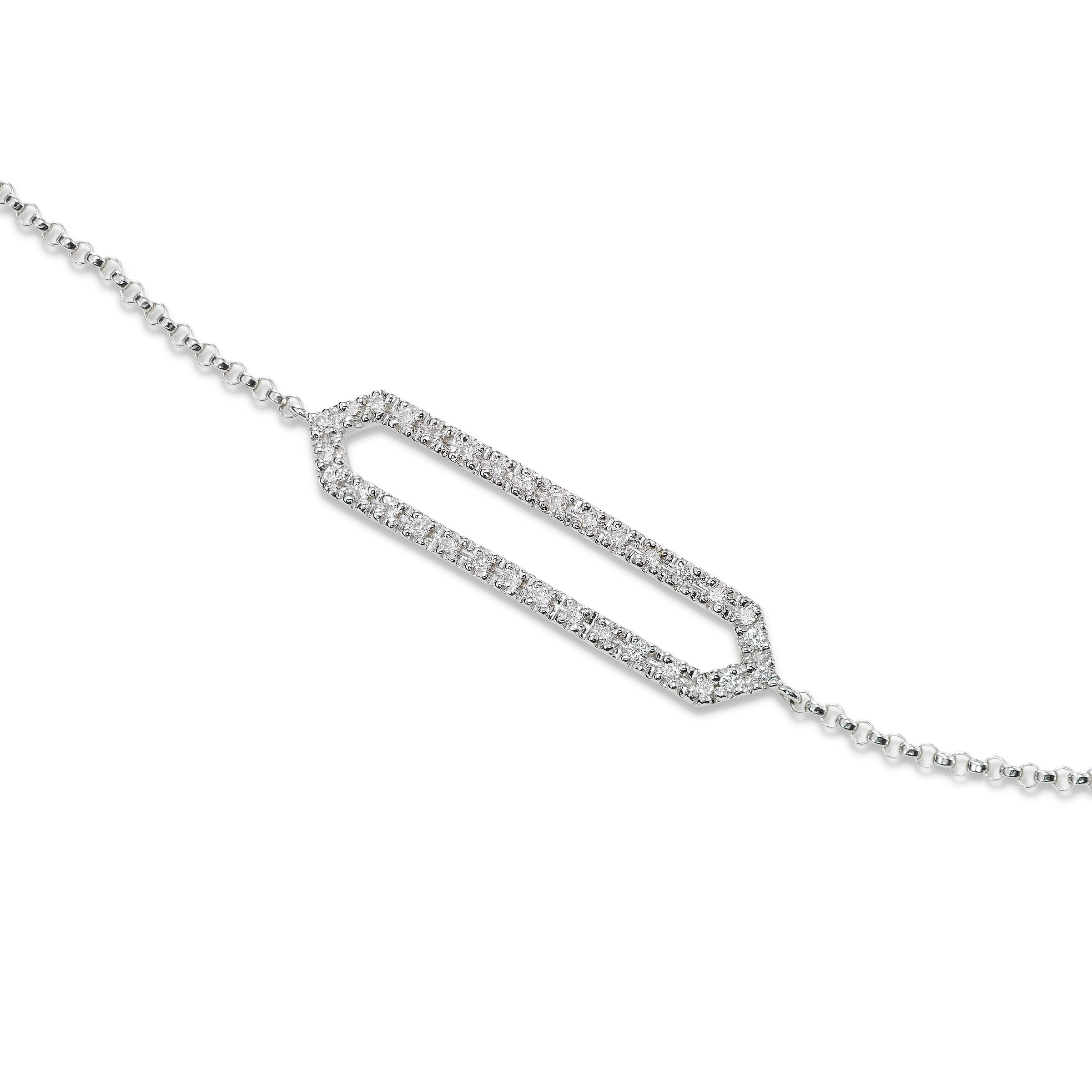 Diamond Bar Bracelet, 14K White Gold
