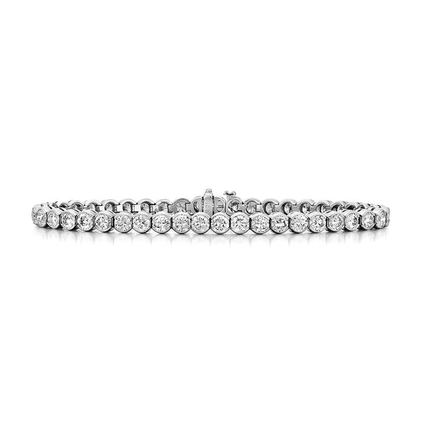 Bezel Set Diamond Tennis Bracelet, 5 Carats, 14K White Gold