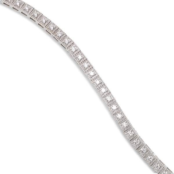 Vintage Style Diamond Bracelet, 14K White Gold