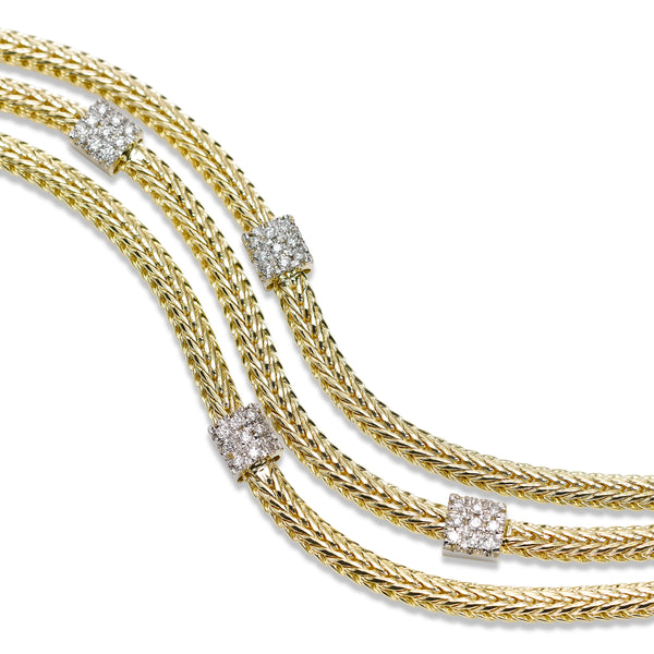 Three Strand Braid Design Bracelet with Diamonds, 14K Yellow Gold