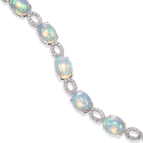 Oval Opal and Diamond Bracelet, 14K White Gold