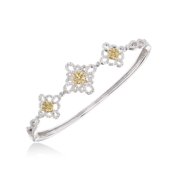 Yellow Diamond Floral Bangle, 14K White Gold