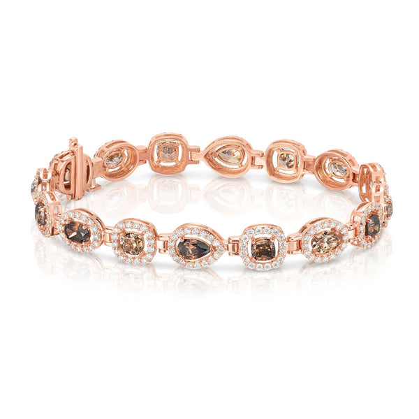 Mixed Shape Fancy Brown Diamond Bracelet, 14K Rose Gold
