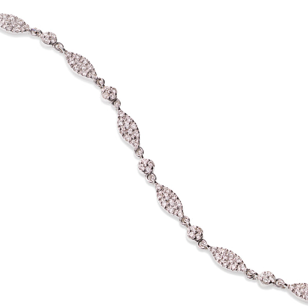 Pavé Diamond Link Bracelet, 14K White Gold