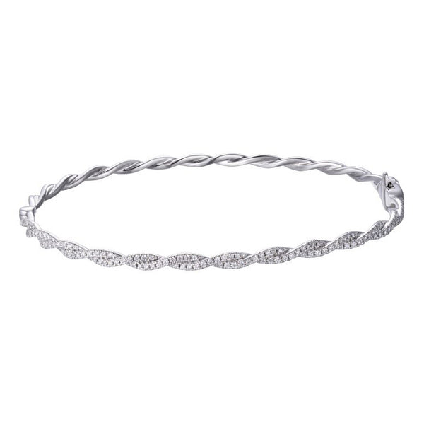 Pavé Diamond Intertwined Bangle Bracelet, 14K White Gold