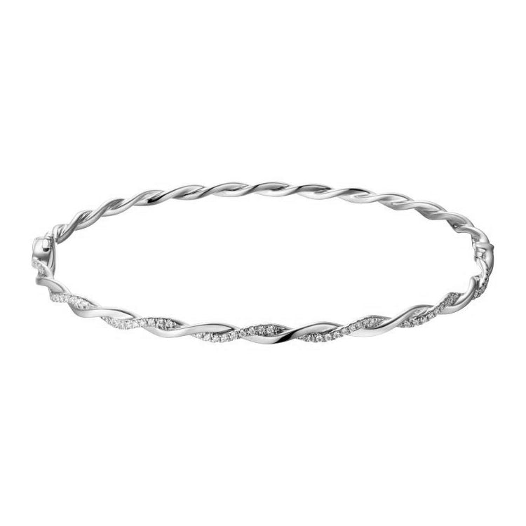 Graceful Diamond Twist Bangle Bracelet, 14K White Gold