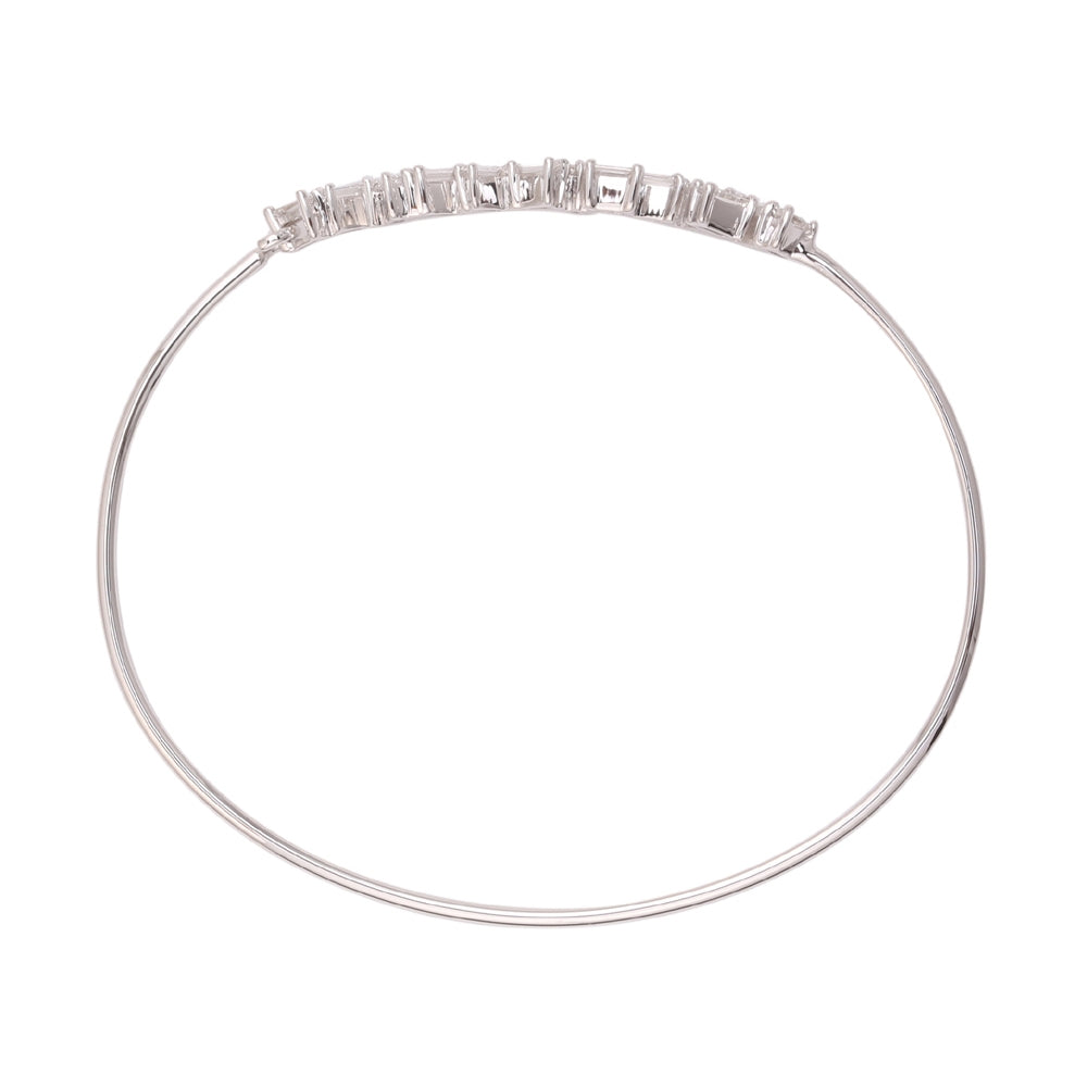 Baguette Diamond Bangle Bracelet, 14K White Gold