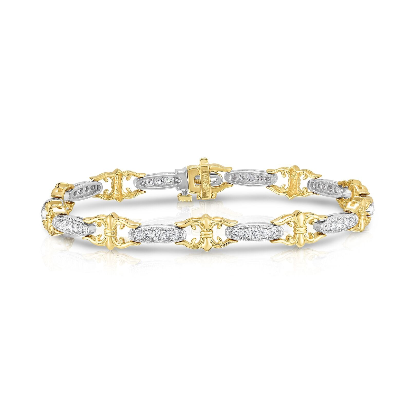 Two Tone Fancy Diamond Link Bracelet, 14 Karat Gold