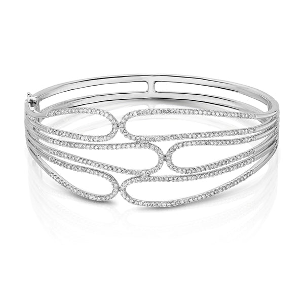 Openwork Diamond Bangle Bracelet, 14K White Gold