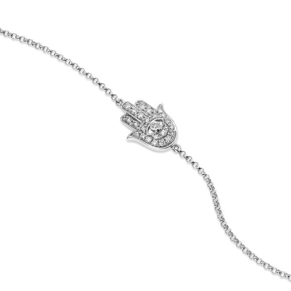 Pavé Diamond Hamsa Chain Bracelet, 14K White Gold
