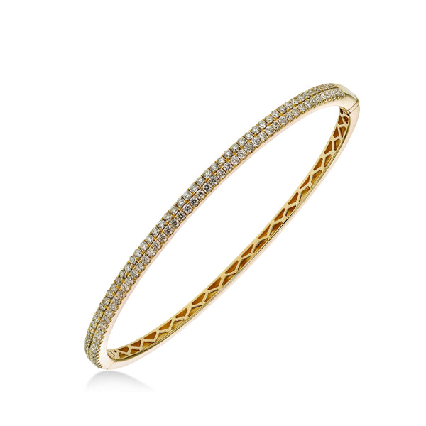 Double Row Pavé Diamond Bangle Bracelet, 18K Yellow Gold