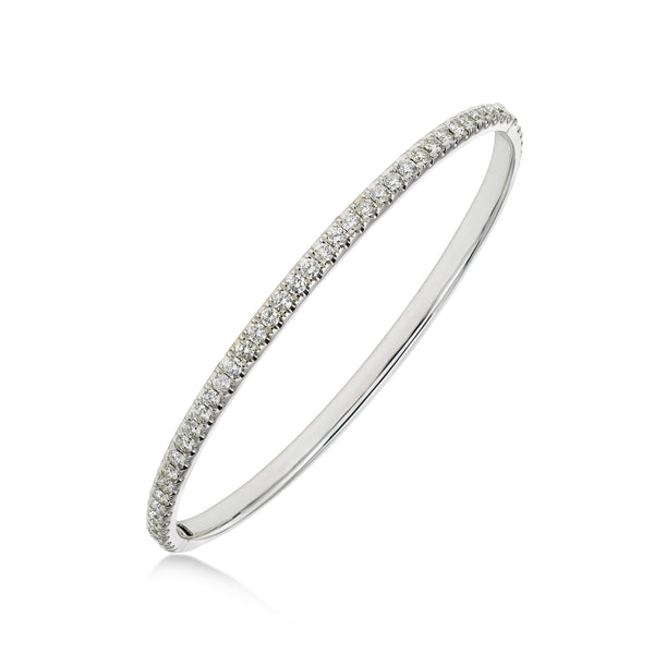 Flush Set Diamond Bangle Bracelet, 18K White Gold