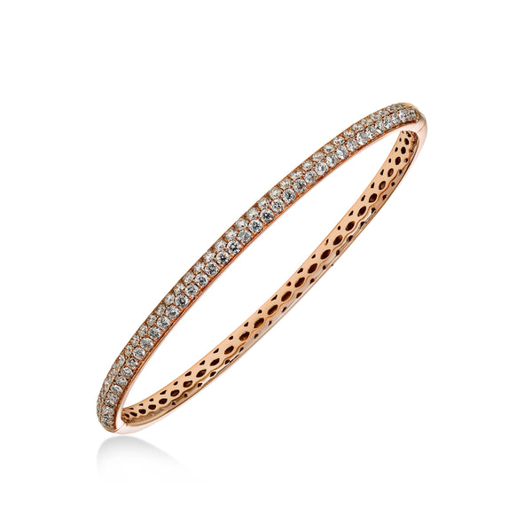 Double Row Pavé Diamond Bangle Bracelet, 18K Rose Gold