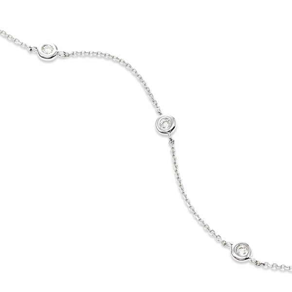 Bezel Set Diamond Station Flexible Bracelet, 14K White Gold