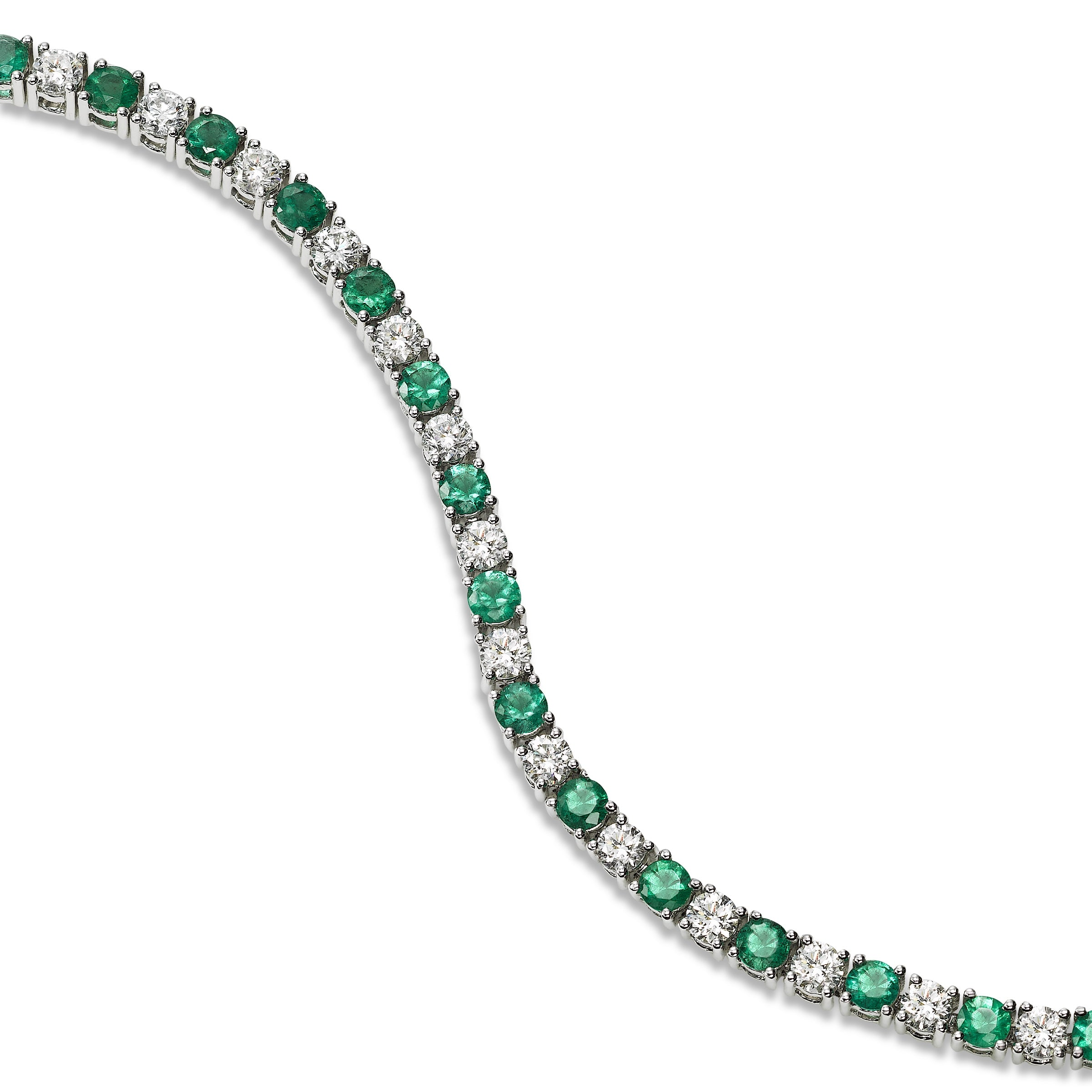 Alternating Emerald and Diamond Bracelet, 14K White Gold