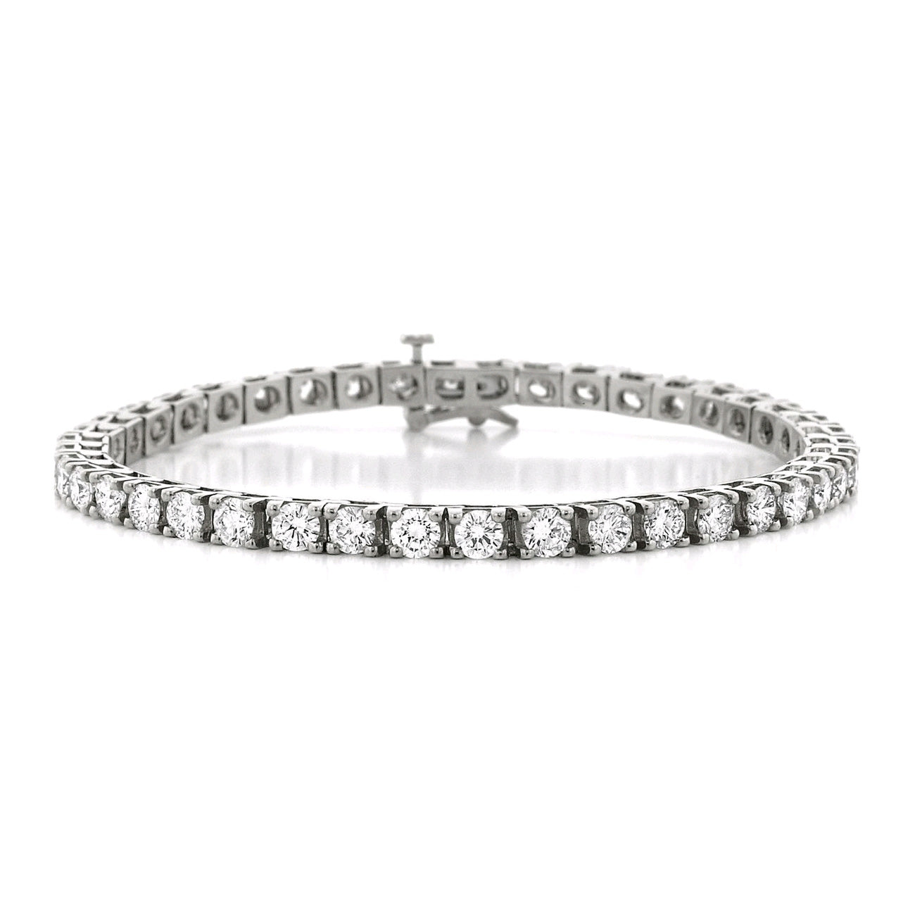 Four Prong Diamond Tennis Bracelet, 8 Carats, 14K White Gold