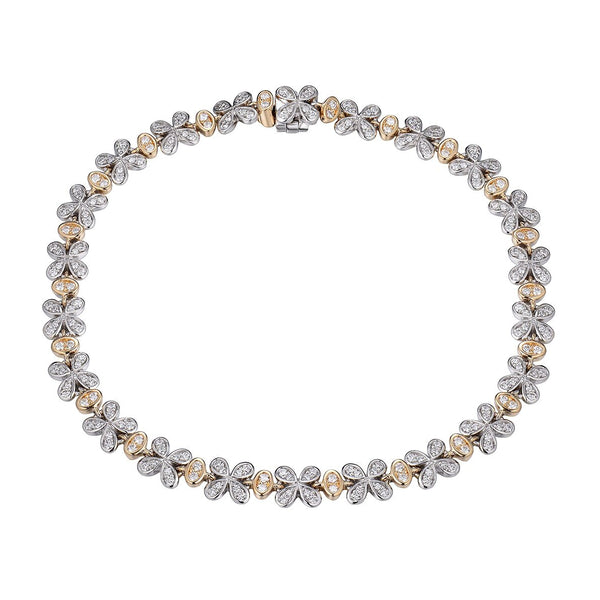 Two Tone Floral Motif Diamond Bracelet, 14 Karat Gold