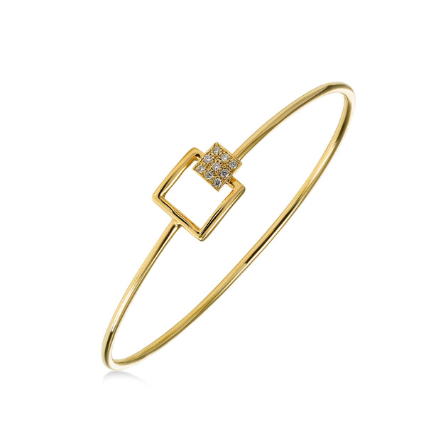 Square Diamond Element Bangle Bracelet, 14K Yellow Gold