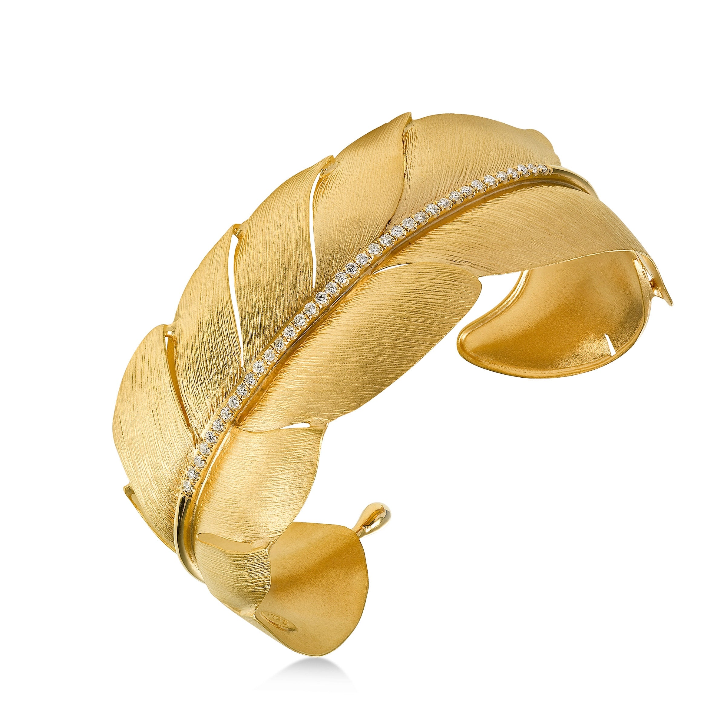 Diamond Feather Cuff Bracelet, 14K Yellow Gold
