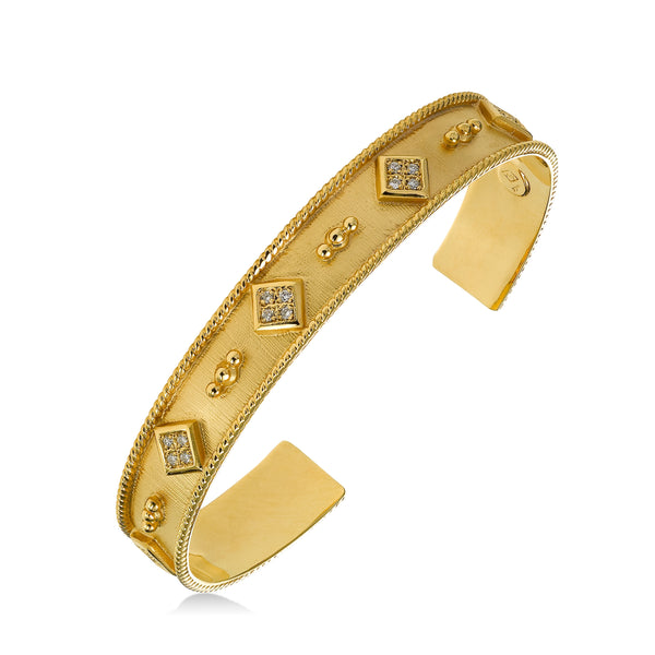 Diamond Design Element Cuff Bracelet, 14K Yellow Gold