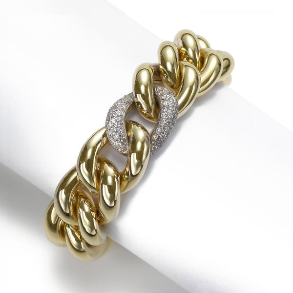 Chunky Gold and Diamond Link Bracelet, .55 Carat, 14 Karat Gold