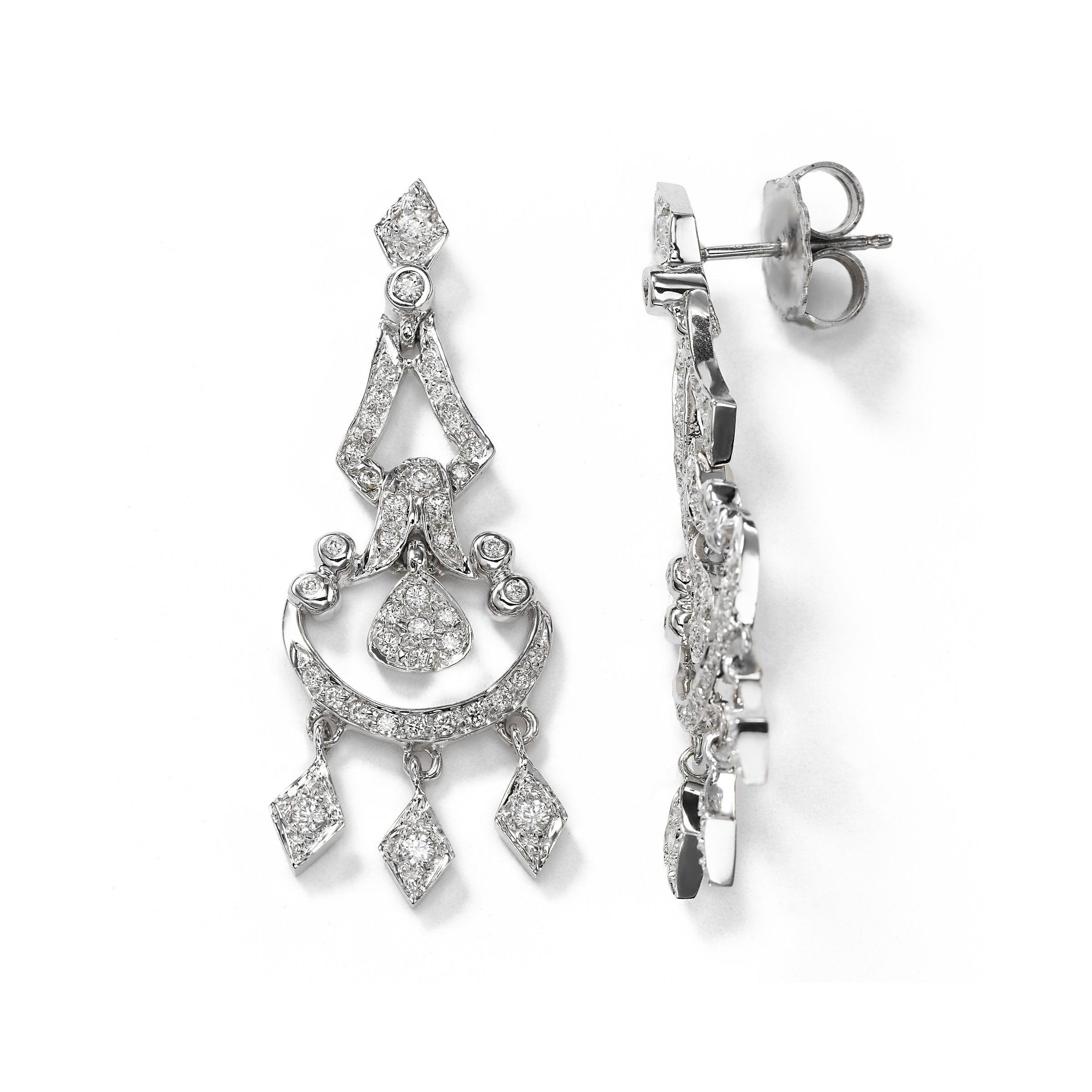 Pave Diamond Chandelier Earring, .90 Carat, 14K White Gold
