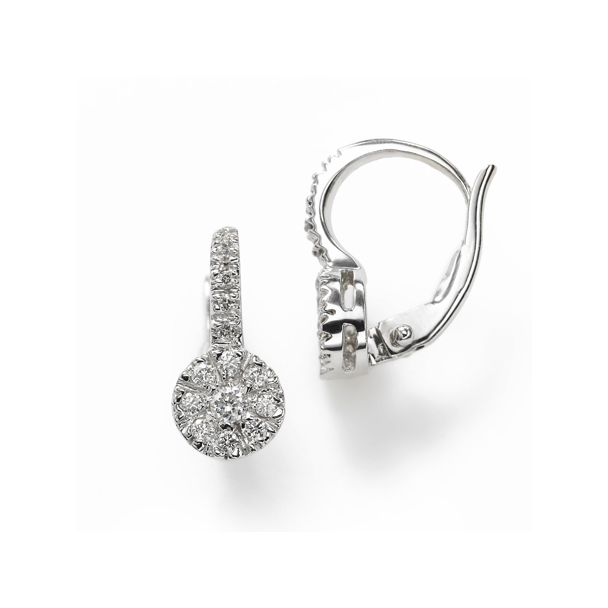Diamond Cluster on Euro Wire Earring, .30 Carat, 14KWG