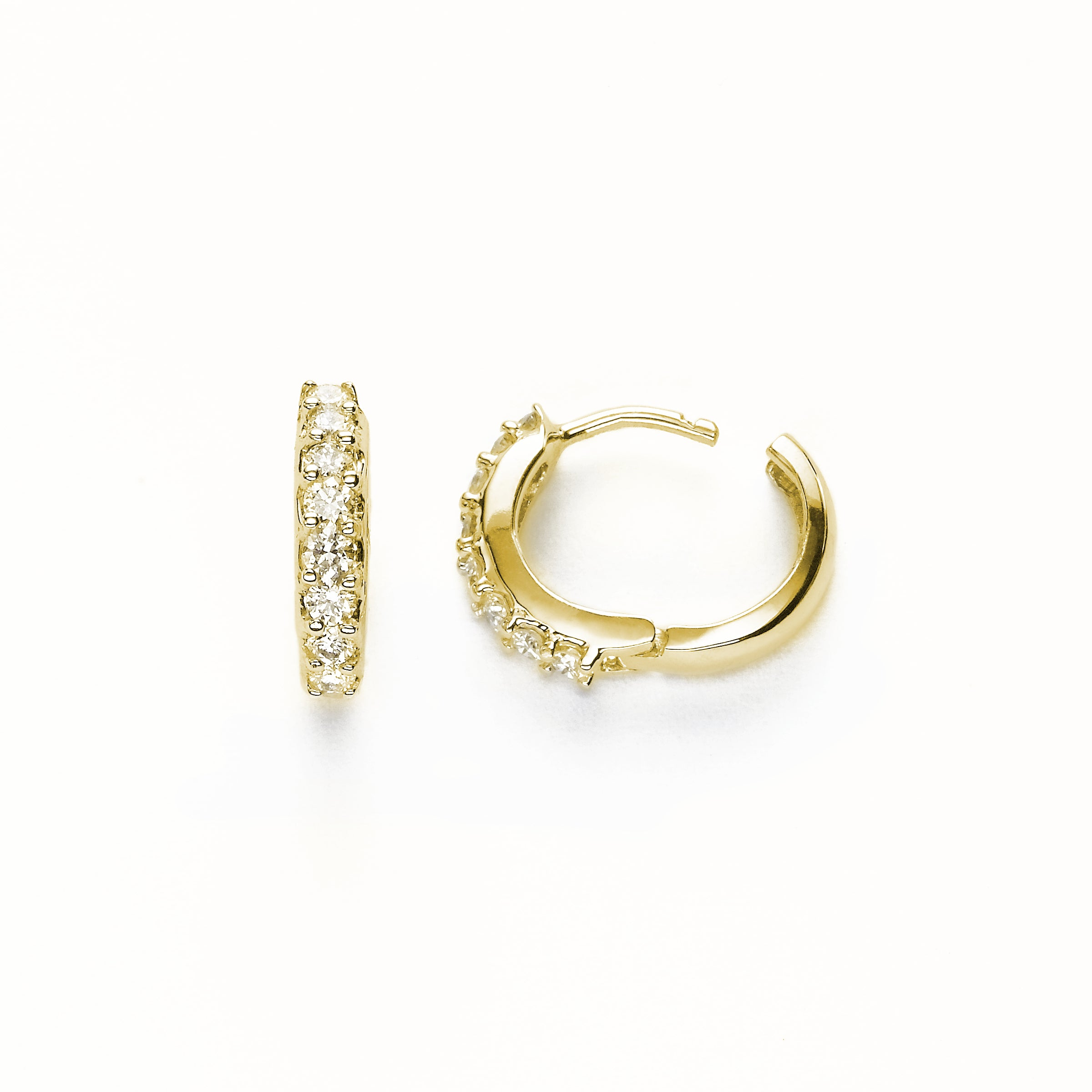 Diamond Huggie Hoop Earrings, .50 Carat, 14K Yellow Gold