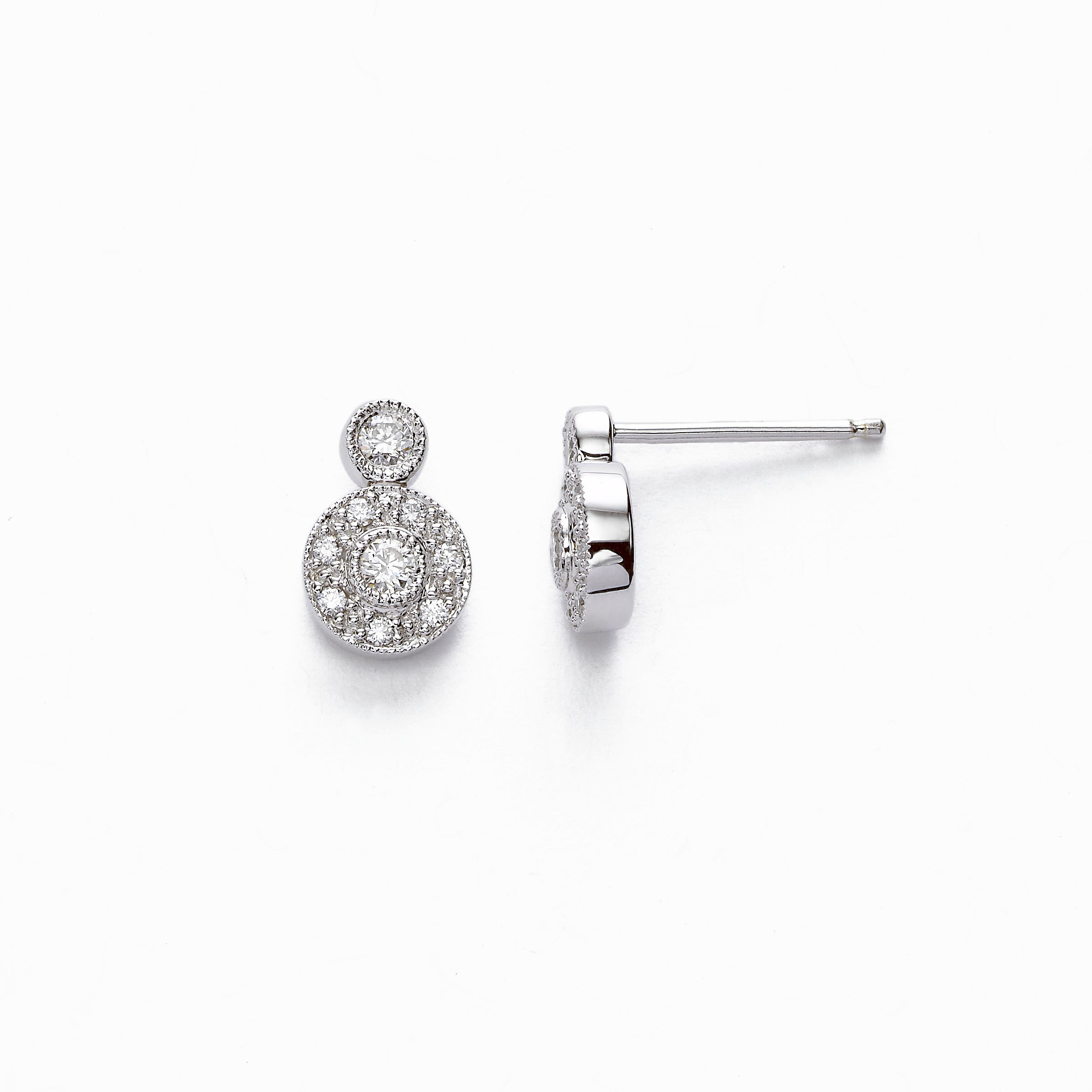 Vintage Look Pave Diamond Petite Earring, .29 Carat, 14K White Gold