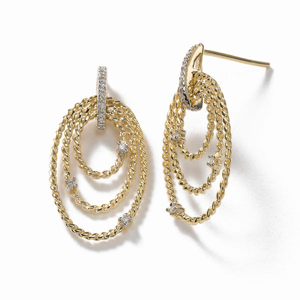 Oval Twist Rope Earrring, 14K Yellow Gold