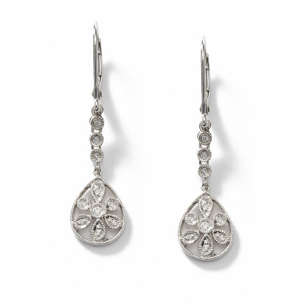 Diamond Flower Dangle Earrings, 14K White Gold