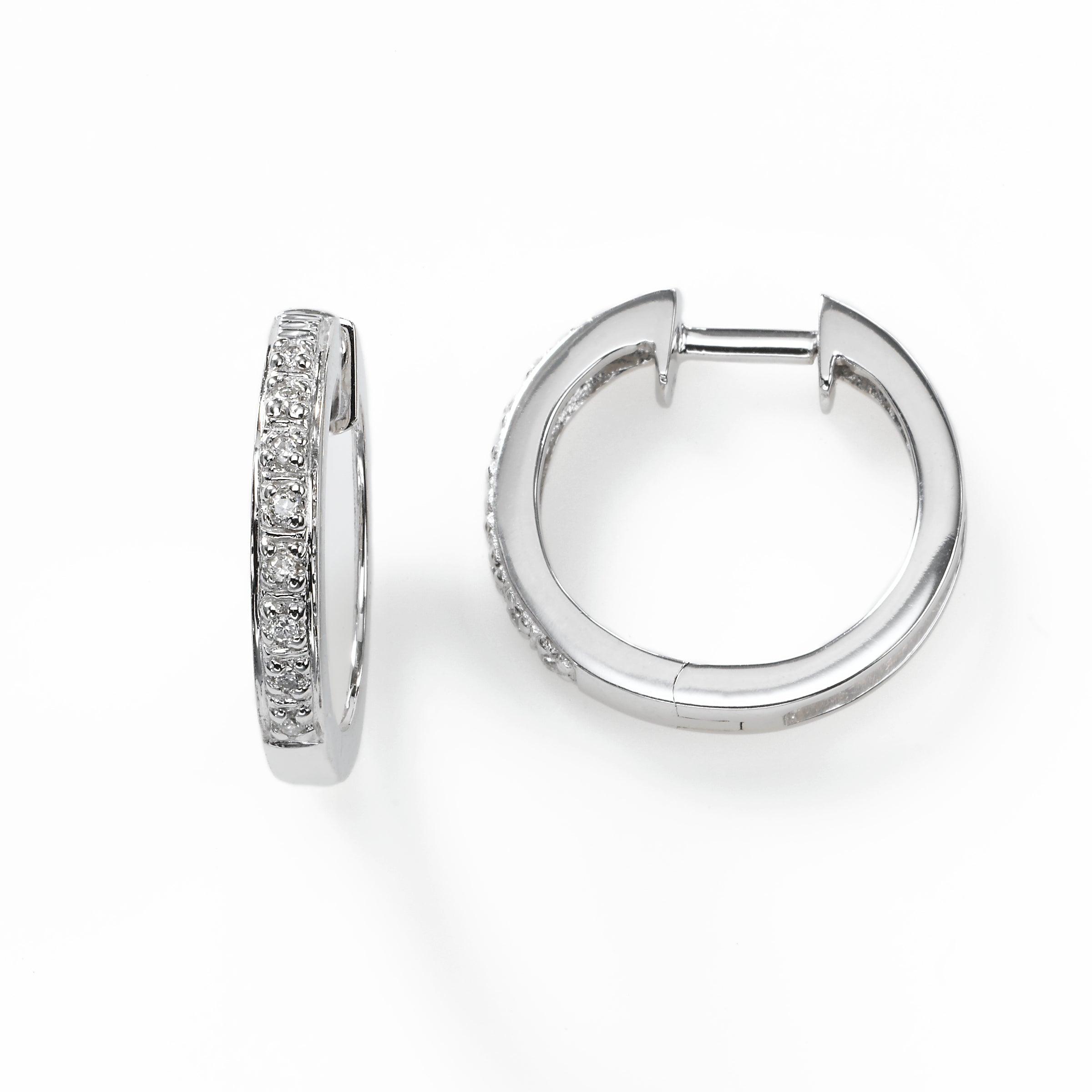 Diamond Hoop Pave Set Earring, 14K White Gold
