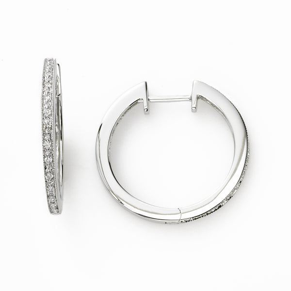 White Gold Single Row Diamond Hoop, 14K White Gold