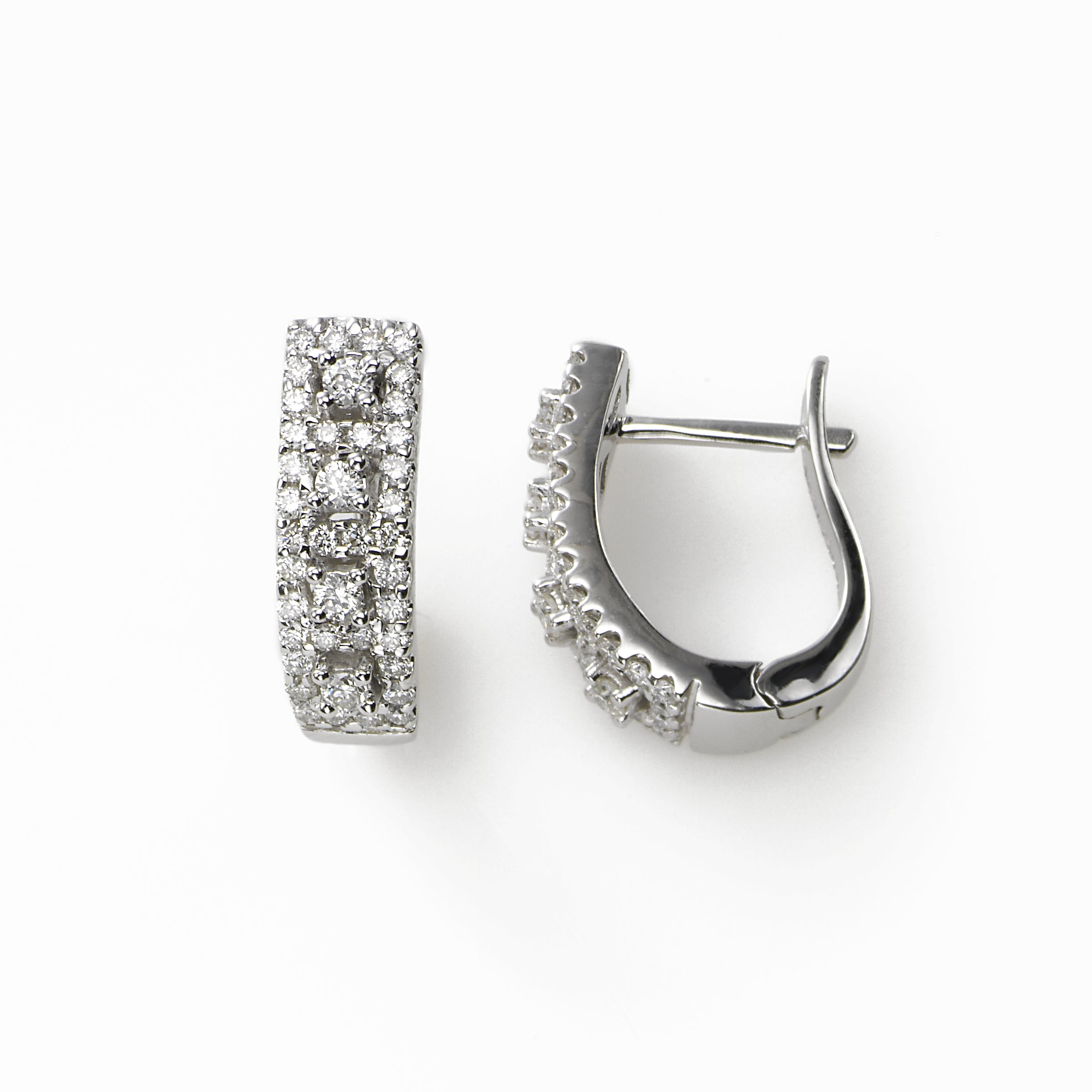 Diamond Pavé Half Hoop, .50 Carat, 14K White Gold