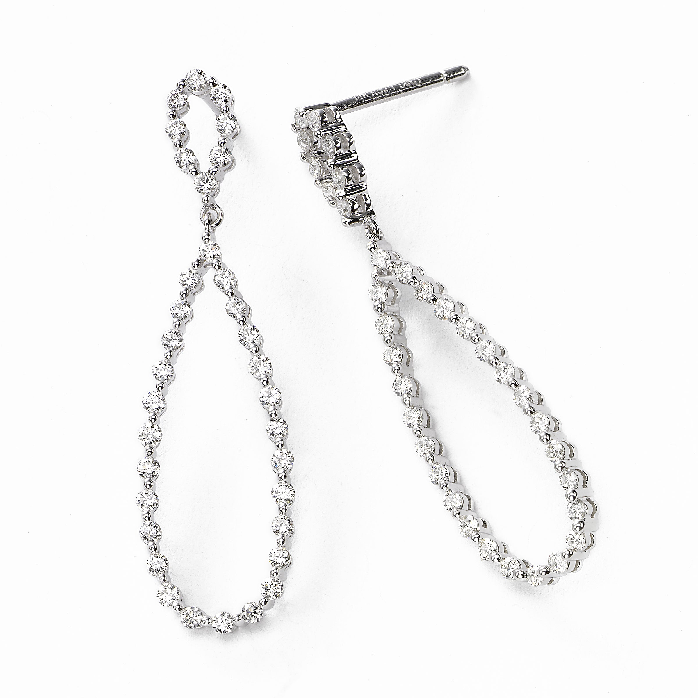 Double Loop Diamond Drop Earring, 1.22 Carat, 14KWG