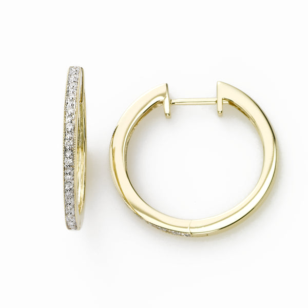 Yellow Gold Single Row Diamond Hoop, 14K Yellow Gold
