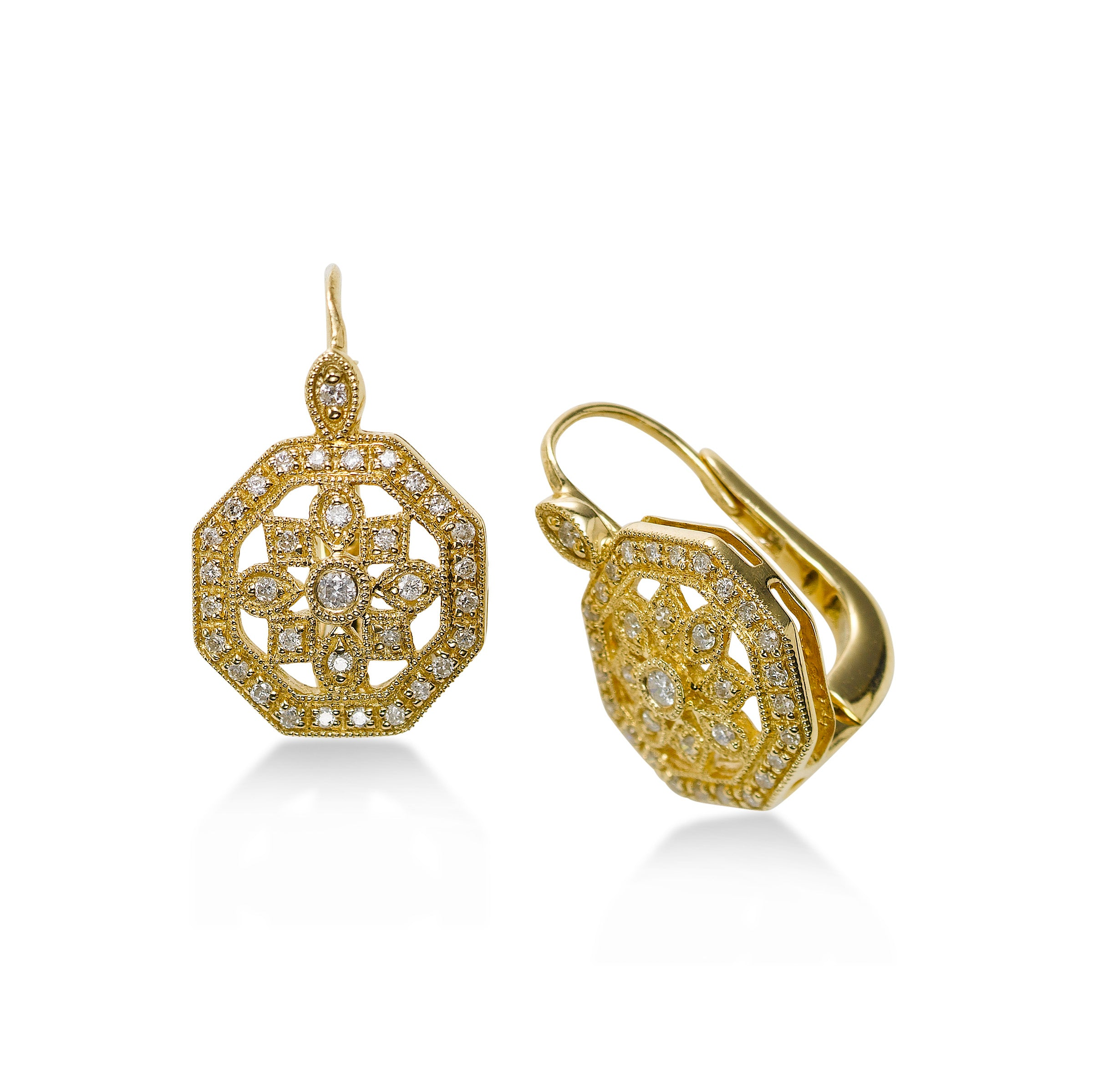 Octagonal Diamond Earrings, .30 Carat, 14K Yellow Gold