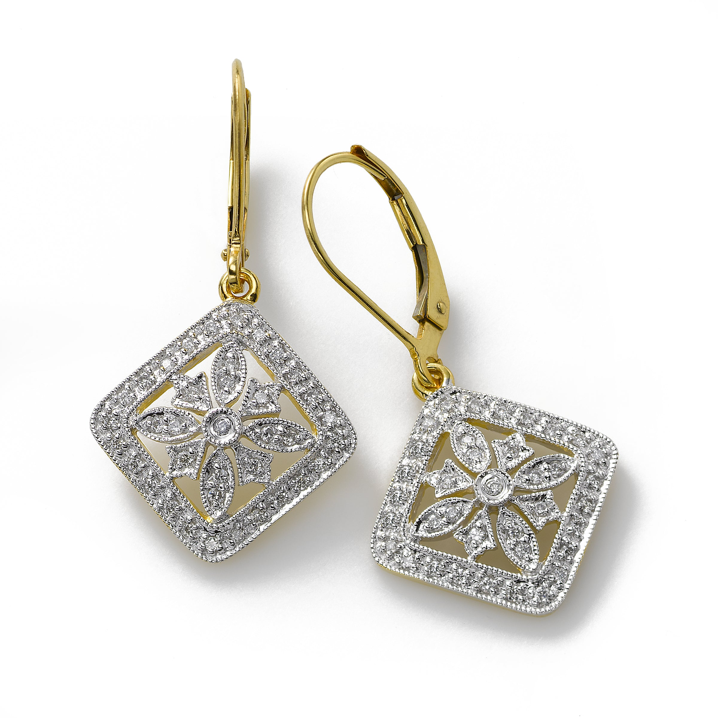 Diamond Filigree Earring, .30 Carat, 14K Yellow Gold